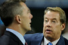 Oct 28, 2012; Detroit, MI, USA; Detroit Lions owner William Clay Ford Jr (right) talks with president Tom Lewand (left) before the game against the Seattle Seahawks at Ford Field. Mandatory Credit: Tim Fuller-US PRESSWIRE