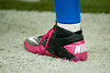 Oct 28, 2012; Detroit, MI, USA; A detailed view of the pink shoes worm by players during the game between the Detroit Lions and the Seattle Seahawks at Ford Field. Mandatory Credit: Tim Fuller-US PRESSWIRE