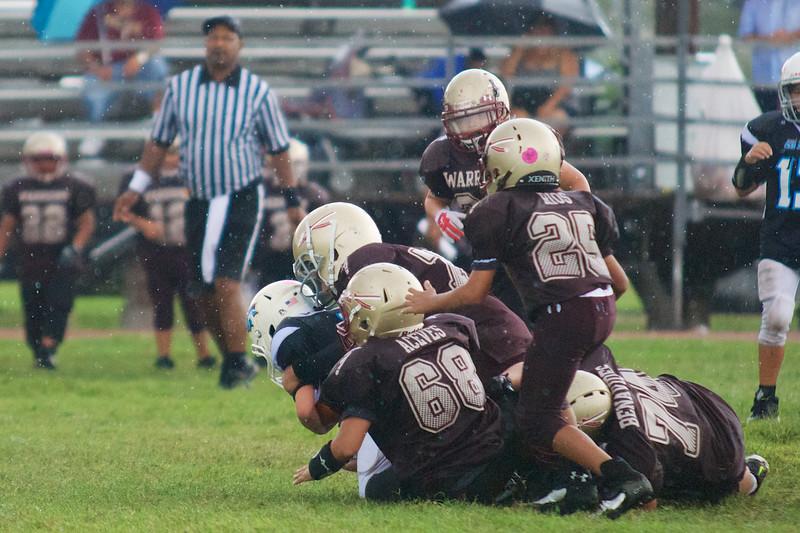 It takes three to tackle #9 Koby Barrera!