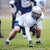 St. Bernard's High School Senior Michael Alario (middle linebacker and right guard) at practice on Friday, before Saturday's Thanksgiving Day game against Boston Cathedral High School.<br /> SENTINEL & ENTERPRISE / BRETT CRAWFORD