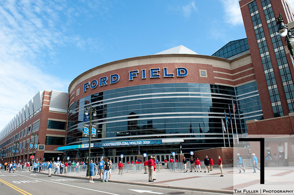 Sep 9, 2012; Detroit, MI, USA; A general exterior view of Ford Field before the game between the Detroit Lions and the St. Louis Rams. Mandatory Credit: Tim Fuller-US PRESSWIRE