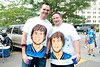 Sep 9, 2012; Detroit, MI, USA; Fans Matt Wilcox (left) and Bob Robinson (right) pose for a picture with their Detroit Lions quarterback Matthew Stafford (not pictured) t-shirts before the game against the St. Louis Rams at Ford Field. Mandatory Credit: Tim Fuller-US PRESSWIRE