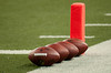 Sep 9, 2012; Detroit, MI, USA; NFL footballs lines up on the goal line before the game between the Detroit Lions and the St. Louis Rams at Ford Field. Mandatory Credit: Tim Fuller-US PRESSWIRE