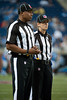 Sep 9, 2012; Detroit, MI, USA; NFL referees Shannon Eastin (right) and Eric Joe (left) before the game between the Detroit Lions and the St. Louis Rams at Ford Field. Mandatory Credit: Tim Fuller-US PRESSWIRE