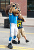 Sep 9, 2012; Detroit, MI, USA; Detroit Lions mascot Roary poses with a fan before the game against the St. Louis Rams at Ford Field. Mandatory Credit: Tim Fuller-US PRESSWIRE