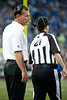Sep 9, 2012; Detroit, MI, USA; Detroit Lions head coach Jim Schwartz (left) talks with NFL referee Shannon Eastin (27) during first quarter against the St. Louis Rams the at Ford Field. Mandatory Credit: Tim Fuller-US PRESSWIRE