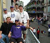 "On Gootee Properties' balcony on Royal Street in the French Quarter.<br /> Back row: Scott ""Flutter"" McWilliams, Ryan Gootee, Jon ""Head"" Gary, Michael Babin<br /> Front row: Doug Tate, Ricky ""Ishtar"" Faulstich"