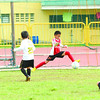 The Don Bosco Technology Center keeper stops a penalty kick during a shootout in the 2nd Sun.Star Football Cup. (Allan Defensor)