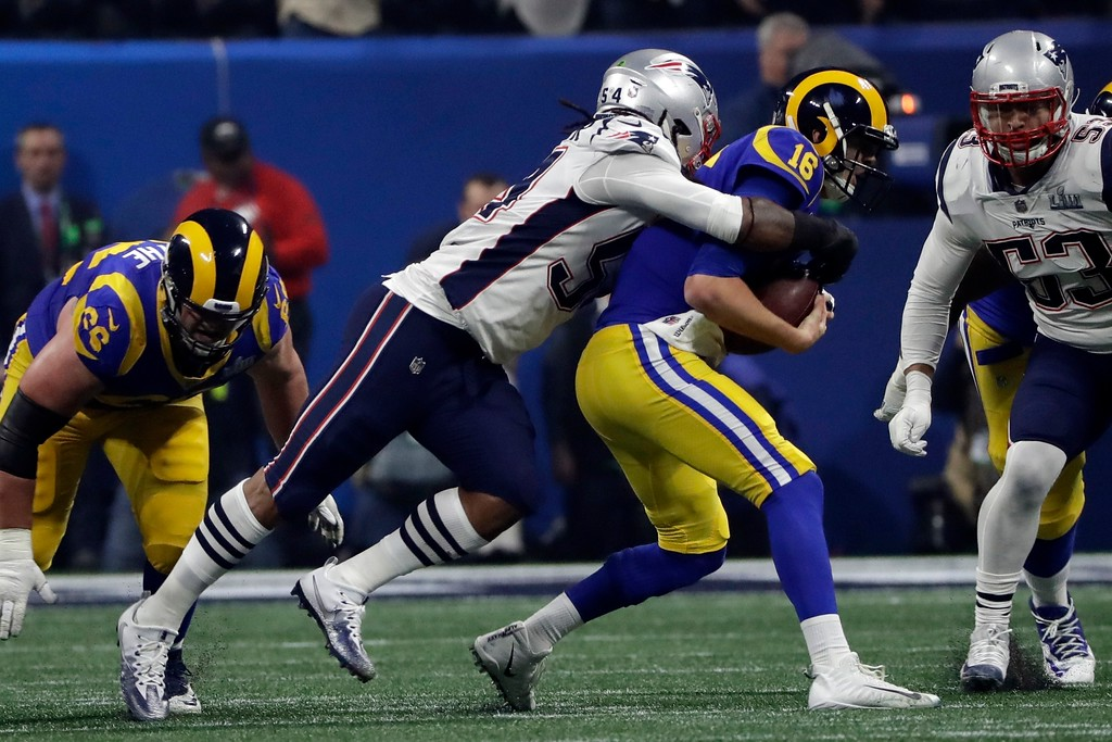 . New England Patriots\' Dont\'a Hightower (54) sacks Los Angeles Rams\' Jared Goff (16) during the second half of the NFL Super Bowl 53 football game Sunday, Feb. 3, 2019, in Atlanta. (AP Photo/Frank Franklin II)