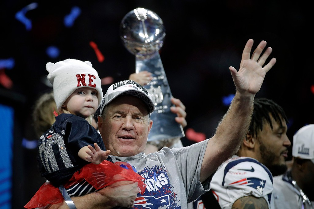 . New England Patriots head coach Bill Belichick waves after the NFL Super Bowl 53 football game against the Los Angeles Rams, Sunday, Feb. 3, 2019, in Atlanta. The Patriots won 13-3. (AP Photo/Patrick Semansky)