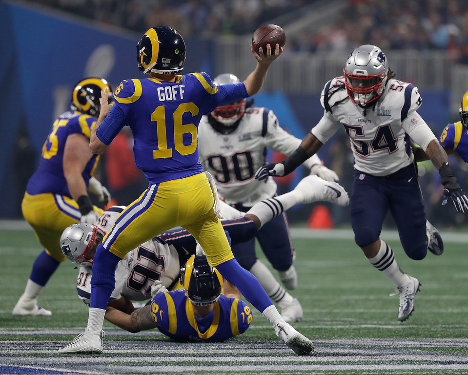 . Los Angeles Rams\' Jared Goff (16) passes against the New England Patriots during the second half of the NFL Super Bowl 53 football game Sunday, Feb. 3, 2019, in Atlanta. (AP Photo/Frank Franklin II)