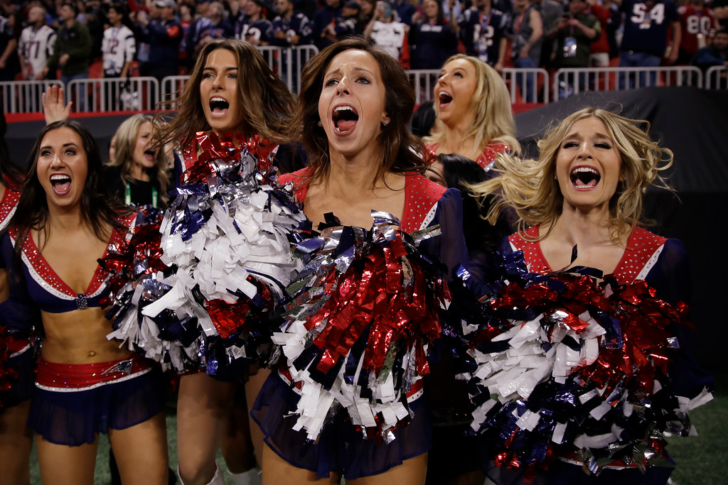 . New England Patriots cheerleaders celebrate, during the second half of the NFL Super Bowl 53 football game against the Los Angeles Rams, Sunday, Feb. 3, 2019, in Atlanta. (AP Photo/Matt Rourke)