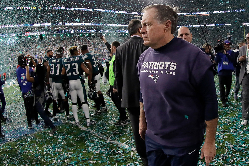 . New England Patriots head coach Bill Belichick walks off the field after the NFL Super Bowl 52 football game against the Philadelphia Eagles Sunday, Feb. 4, 2018, in Minneapolis. The Eagles won 41-33. (AP Photo/Mark Humphrey)