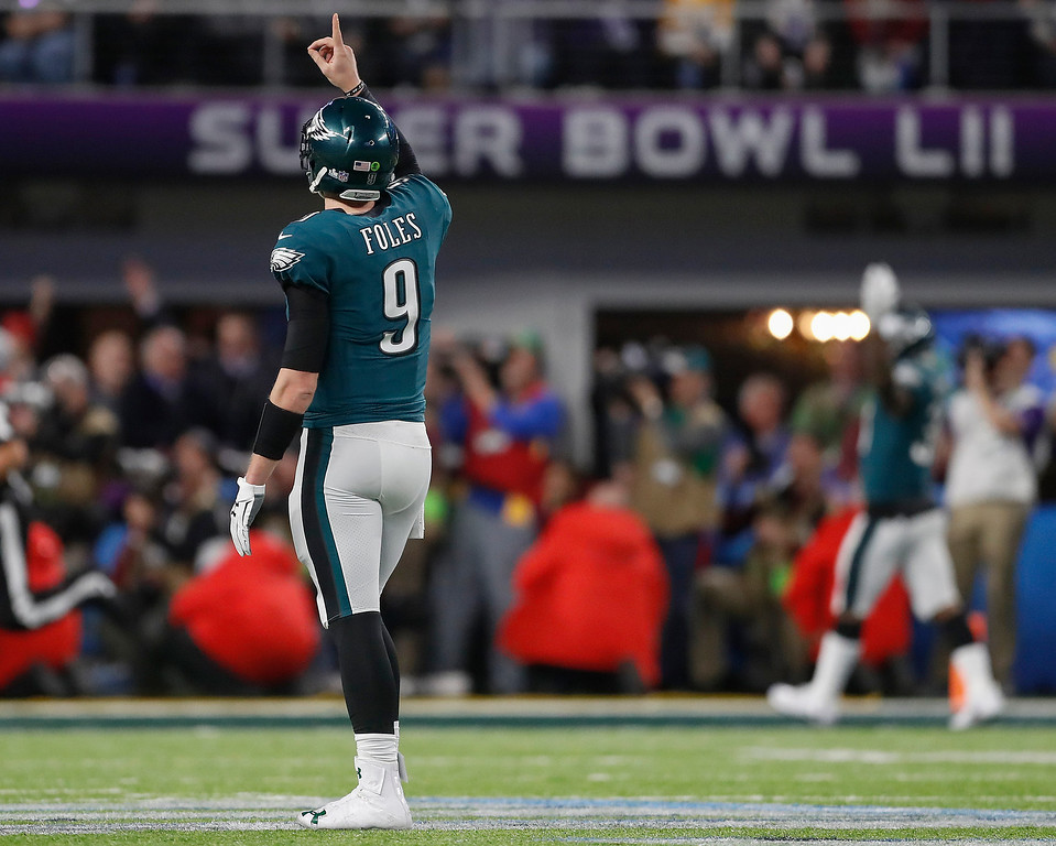 . Philadelphia Eagles quarterback Nick Foles celebrates a touchdown pass to Zach Ertz during the second half of the NFL Super Bowl 52 football game against the New England Patriots Sunday, Feb. 4, 2018, in Minneapolis. (AP Photo/Jeff Roberson)