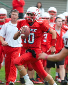 102712, Tewksbury, MA - Tewksbury quarterback Johnny Aylward (10) carries the ball downfield himself during Saturday's game. Herald photo by Ryan Hutton