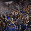 The Pleasant Valley student section cheers as the Vikings score during the Almond Bowl on Friday, Oct. 21, 2016, at University Stadium in Chico, California.