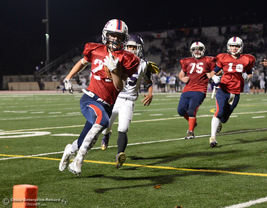 Dustin Long (24) runs in a touchdown for Las Plumas as the Thunderbirds beat Oroville 52-22 Friday, Nov. 4, 2016, to win the Victory Bell at Harrison Stadium in Oroville, California. (Dan Reidel -- Enterprise-Record)