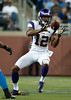 Sep 30, 2012; Detroit, MI, USA; Minnesota Vikings wide receiver Percy Harvin (12) completes a pass during the second quarter against the Detroit Lions at Ford Field. Mandatory Credit: Tim Fuller-US PRESSWIRE
