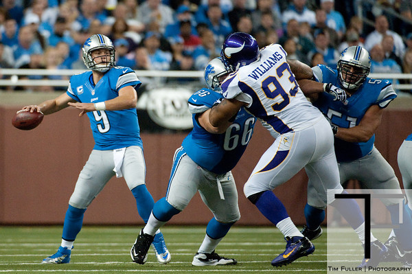 Sep 30, 2012; Detroit, MI, USA; Detroit Lions quarterback Matthew Stafford (9) drops back to pass during the game against the Minnesota Vikings at Ford Field. Mandatory Credit: Tim Fuller-US PRESSWIRE