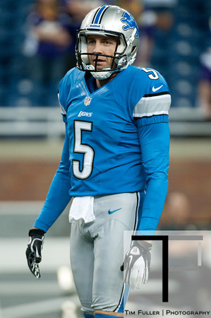 Sep 30, 2012; Detroit, MI, USA; Detroit Lions punter Nick Harris (5) before the game against the Minnesota Vikings at Ford Field. Mandatory Credit: Tim Fuller-US PRESSWIRE
