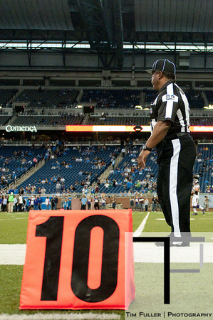 Sep 30, 2012; Detroit, MI, USA; NFL referee Buddy Horton (82) before the game between the Detroit Lions and the Minnesota Vikings at Ford Field. Mandatory Credit: Tim Fuller-US PRESSWIRE