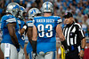 Sep 30, 2012; Detroit, MI, USA; NFL referee Garth Defelice (53) talks to Detroit Lions defensive end Kyle Vanden Bosch (93) during the game against the Minnesota Vikings at Ford Field. Mandatory Credit: Tim Fuller-US PRESSWIRE