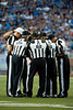 Sep 30, 2012; Detroit, MI, USA; NFL referee Buddy Horton (82) talks with the other referees during the first quarter between the Detroit Lions and the Minnesota Vikings at Ford Field. Mandatory Credit: Tim Fuller-US PRESSWIRE