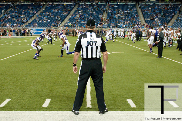 Sep 30, 2012; Detroit, MI, USA; NFl referee Ron Marinucci (107) before the game between the Detroit Lions and the Minnesota Vikings at Ford Field. Mandatory Credit: Tim Fuller-US PRESSWIRE