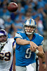 Sep 30, 2012; Detroit, MI, USA; Detroit Lions quarterback Matthew Stafford (9) makes a pass during the second quarter against the Minnesota Vikings at Ford Field. Mandatory Credit: Tim Fuller-US PRESSWIRE
