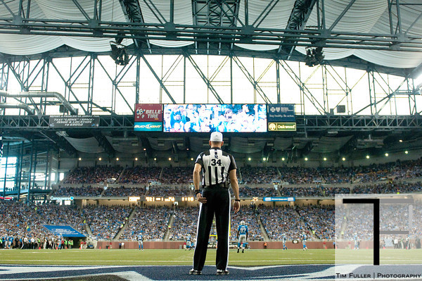 Sep 30, 2012; Detroit, MI, USA; NFL referee Clete Blakeman (34) during the first quarter between the Detroit Lions and the Minnesota Vikings at Ford Field. Mandatory Credit: Tim Fuller-US PRESSWIRE
