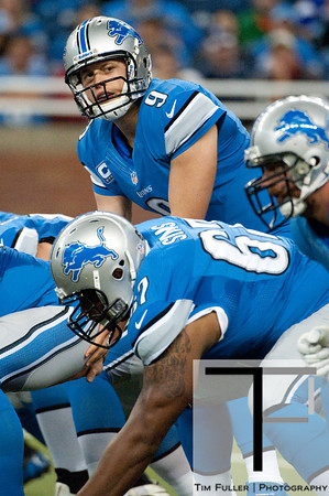 Sep 30, 2012; Detroit, MI, USA; Detroit Lions quarterback Matthew Stafford (9) prepares to take the snap during the first quarter against the Minnesota Vikings at Ford Field. Mandatory Credit: Tim Fuller-US PRESSWIRE