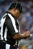 Sep 30, 2012; Detroit, MI, USA; NFL referee Buddy Horton (82) takes notes during the game between the Detroit Lions and the Minnesota Vikings at Ford Field. Mandatory Credit: Tim Fuller-US PRESSWIRE
