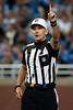Sep 30, 2012; Detroit, MI, USA; NFL referee Clete Blakeman (34) during the second quarter between the Detroit Lions and the Minnesota Vikings at Ford Field. Mandatory Credit: Tim Fuller-US PRESSWIRE