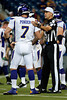 Sep 30, 2012; Detroit, MI, USA; Minnesota Vikings quarterback Christian Ponder (7) and NFL referee Clete Blakeman (34) before the game against the Detroit Lions at Ford Field. Mandatory Credit: Tim Fuller-US PRESSWIRE