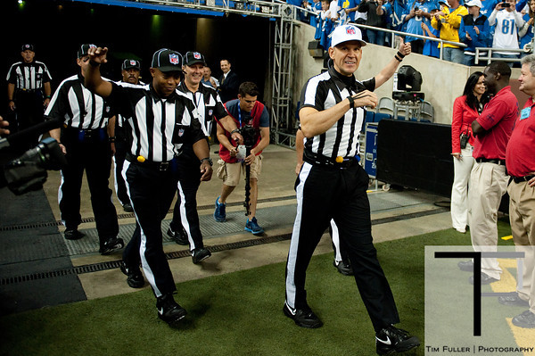 Sep 30, 2012; Detroit, MI, USA; NFL referee Clete Blakeman (34) walks onto the field before the game between the Detroit Lions and the Minnesota Vikings the at Ford Field. Mandatory Credit: Tim Fuller-US PRESSWIRE