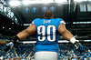Sep 30, 2012; Detroit, MI, USA; Detroit Lions defensive tackle Ndamukong Suh (90) before the game against the Minnesota Vikings at Ford Field. Mandatory Credit: Tim Fuller-US PRESSWIRE