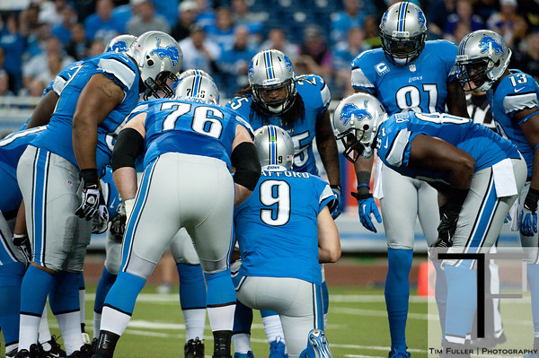 Sep 30, 2012; Detroit, MI, USA; Detroit Lions quarterback Matthew Stafford (9) in a huddle during the game against the Minnesota Vikings at Ford Field. Mandatory Credit: Tim Fuller-US PRESSWIRE