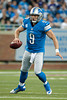 Sep 30, 2012; Detroit, MI, USA; Detroit Lions quarterback Matthew Stafford (9) scrambles out of the pocket during the first quarter against the Minnesota Vikings at Ford Field. Mandatory Credit: Tim Fuller-US PRESSWIRE