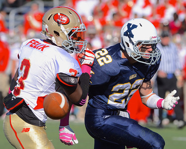 101312, Westwood, MA - Everett's Jalen Felix blocks a pass meant for Xaverian's DJ Sperzel. Herald photo by Ryan Hutton.