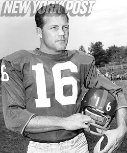 Handsome New York Giant Frank Gifford poses in uniform August 12, 1964