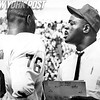 Pro Football Hall of Famer, Rosy Brown gives pointers to rookie tackle, Don Davis. 1966
