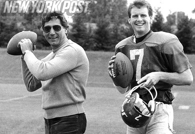 Joe Namath gives Ken O'Brien some passing pointers at the Jets practice. 1986