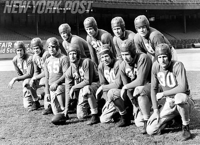From L to R: -- Wals - Blozis - Avedisian - Piccolo - Younce - Cope - Adams Alan Cuff - Shaffer - Nix - Paschal. February 01, 1944. (Photo by Barney Stein/New York Post/Photo Archives, LLC)