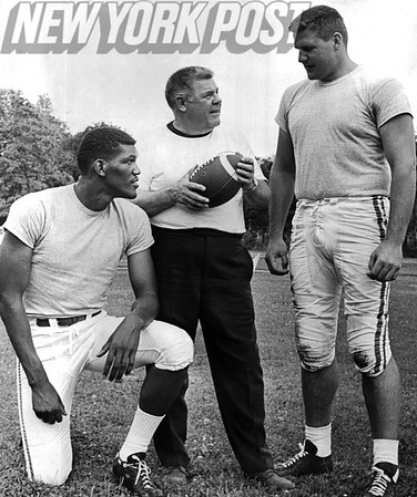 New York Jets Weeb Ewbank at Peekskill grid camp with Henry King and Paul Seiler. 1967