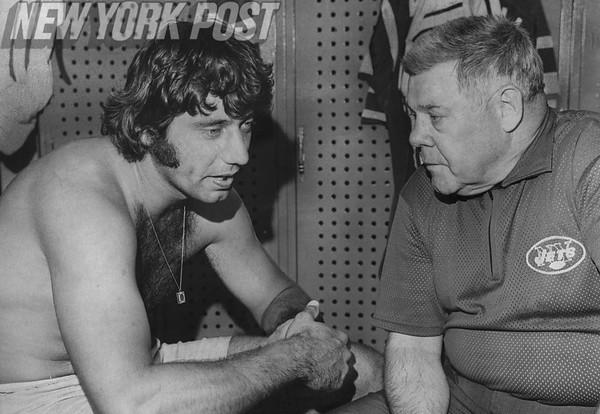 Joe Namath and Coach Weeb Ewbank In the Locker Rooms. 1971