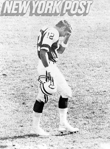 The New York Jets' Joe Namath hangs his head after a defeat. 1968