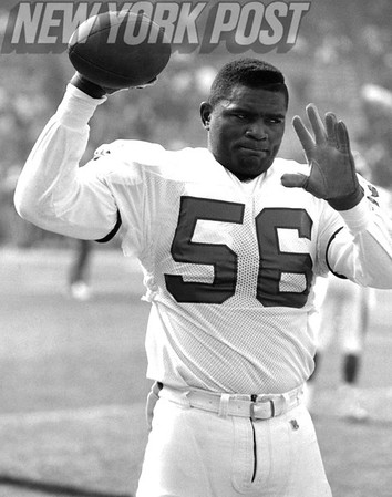 New York Giants Lawrence Taylor Warming Up before 1994 Game.