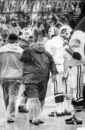 NY Jets coach, Weeb Ewbank, is unhappy with the weather and the team's performance. 1971