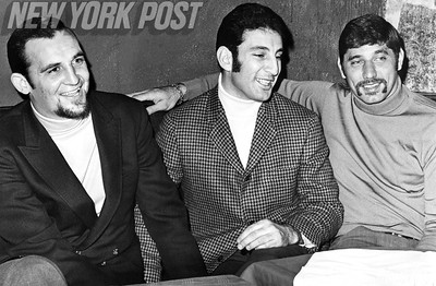 NY Jets Jim Hudson, Joe Namath and Ray Ambruzzese hang out at the East Side Bistro. 1968