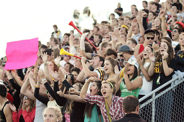 Record-Eagle/Keith King<br /> Students cheer for the Traverse City Central varsity football team prior to their game against Alpena Friday, September 10, 2010 at Thirlby Field.